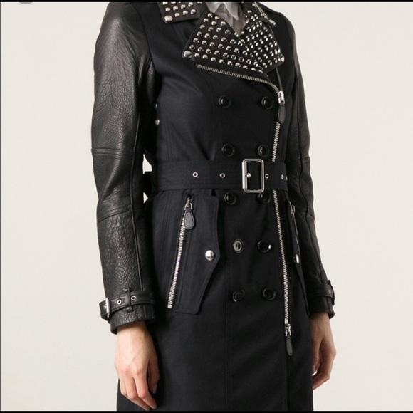 8733da68325271 Burberry Jackets & Coats | Brit Leather Sleeve Studded Trench Sz4 ...